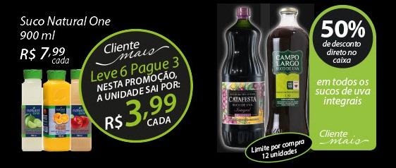 Exemplo de oferta exclusiva para Clientes Mais. Os sucos da imagem não são encontrados por menos de R$6,99 em outros mercados.