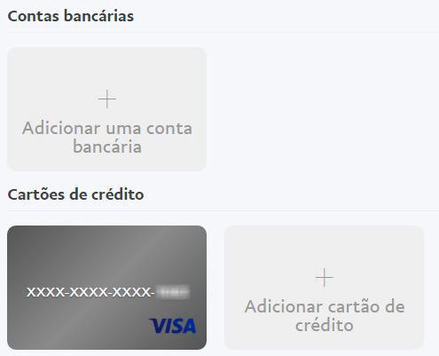 Adicionar conta ou cartão no PayPal