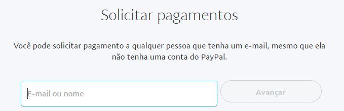 Solicitando pagamento no PayPal