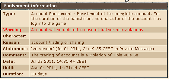 tela de ban tibia por compra de conta (account trading)